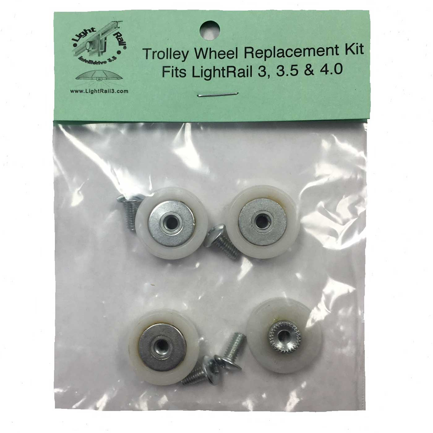 LightRail Trolley Wheels Replacement Kit is compatible to LightRail 3.5 and LightRail 4.0 as well as the older LR3.0 grow light systems.