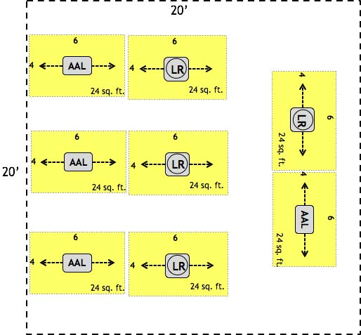 Alternate 20' by 20' LightRail Room Layout