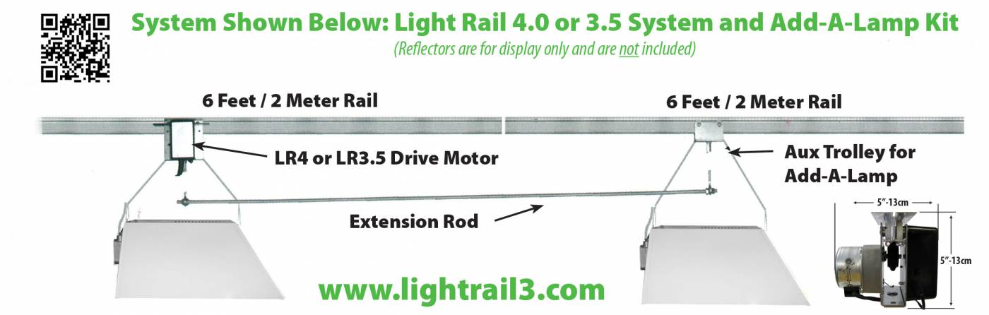 The LightRail light mover Add A Lamp grow light system moves up to ...