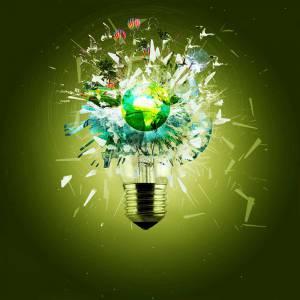 World Breaks through a light bulb