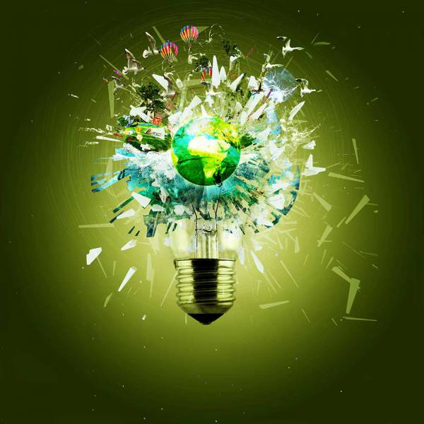 World Breaks through a light bulb
